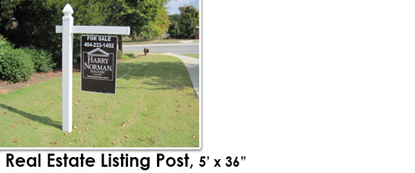 "Yard Real Estate Listing Post 5'h by 36""w White"